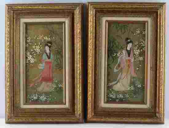 PAIR OF ORIENTAL PRINCESS OIL ON CORK PAINTINGS