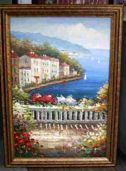 AMALFI COAST ITALY ORIGINAL ART OIL PAINTING