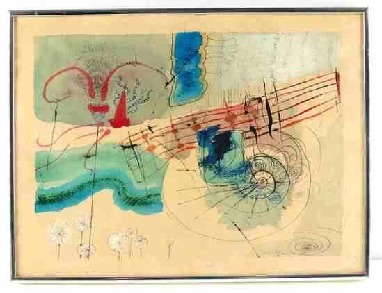 VINTAGE MODERN ART INK & GOUACHE PAINTING