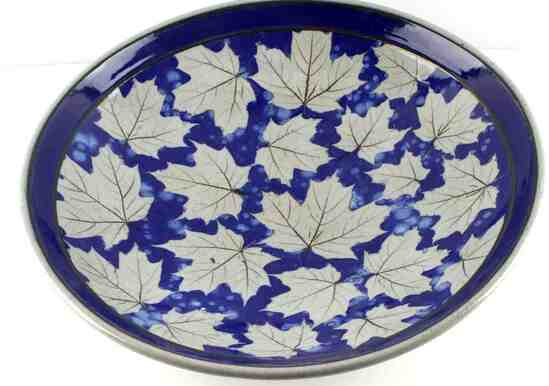 COBALT GLAZED STONEWARE ART BOWL W MAPLE LEAF