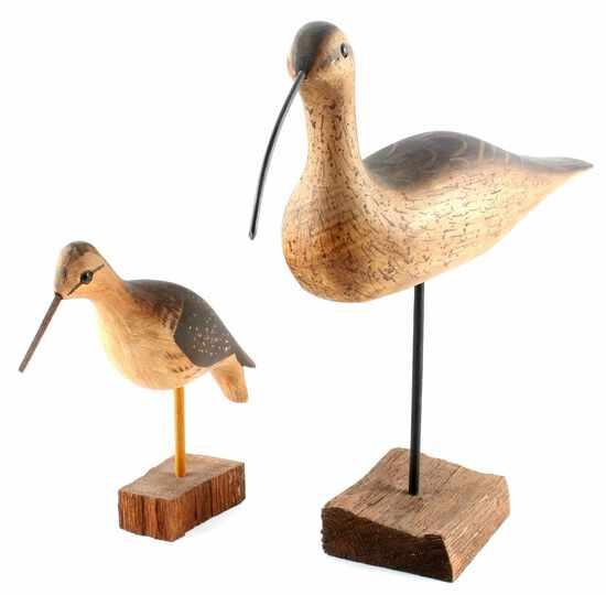 WEK KIRKPATRICK WOOD CARVED SHORE BIRD LOT OF 2
