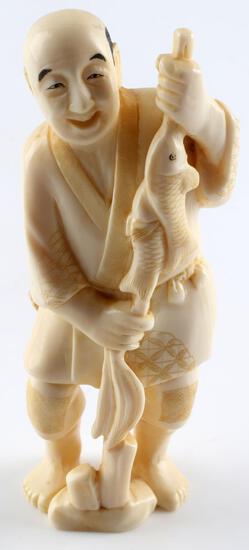 MEIJI PERIOD JAPANESE IVORY FISHERMAN FIGURAL