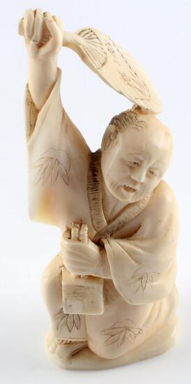JAPANESE IVORY MEIJI PERIOD OKIMONO MALE FIGURAL