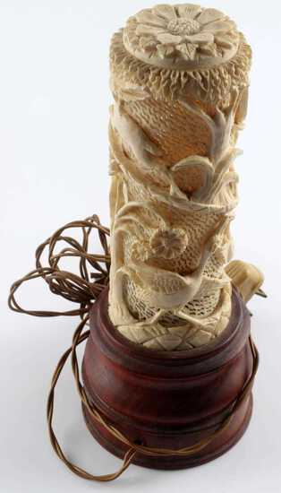EAST INDIA  ANTIQUE CARVED IVORY LAMP