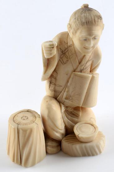 MEIJI PERIOD MALE FIGURAL IVORY JAPANESE OKIMONO