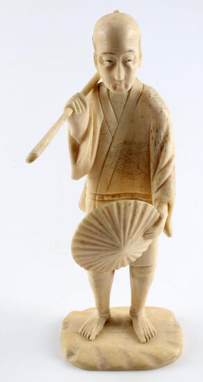 MEIJI PERIOD JAPANESE IVORY OKIMONO MALE FIGURAL