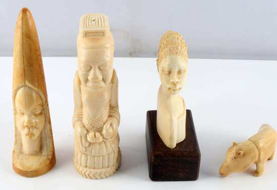 LOT OF 4 ANTIQUE AFRICAN CARVED IVORY FIGURALS