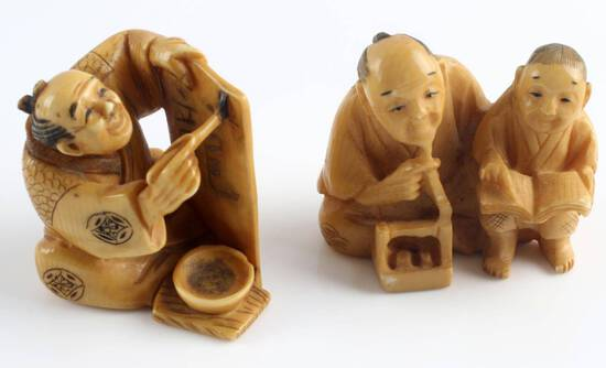 ANTIQUE EDO MEIJI CARVED IVORY NETSUKE FIGURES