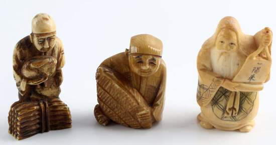 JAPANESE EDO MEIJI PERIOD ANTIQUE IVORY NETSUKE