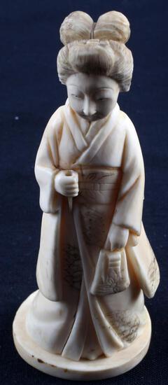 ANTIQUE IVORY FIGURAL MEIJI PERIOD OKIMONO