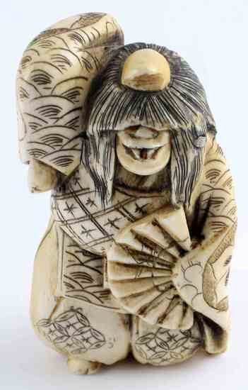 ANTIQUE IVORY JAPANESE ONI KIJO DEMON MONSTER