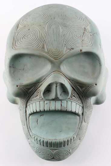 PRE COLUMBIAN TAINO CULTURE ARGILLITE SKULL GUAIZA