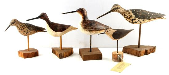 LOT OF 5 WEK KIRPATRICK WOOD CARVED SHORE BIRDS