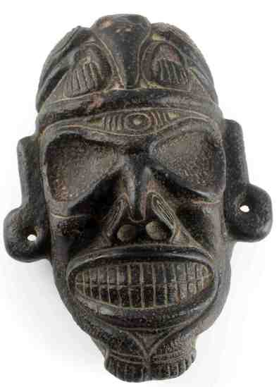 PRE COLUMBIA TAINO CULTURE SKULL ZEMI HEAD CARVING