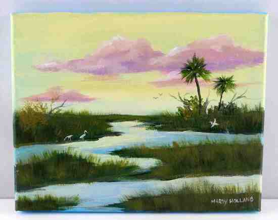 FLORIDA WILDLIFE LANDSCAPE PAINTING BY HOLLAND