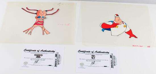 2 CAPTAIN N SUPER DAVE ANIMATION CEL LOT WITH COA