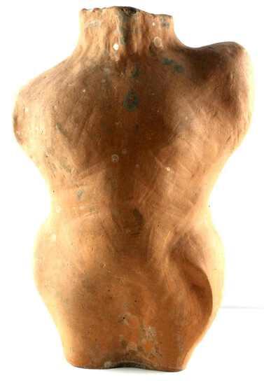TERRACOTTA SCULPTURE OF NUDE MALE BODY TORSO