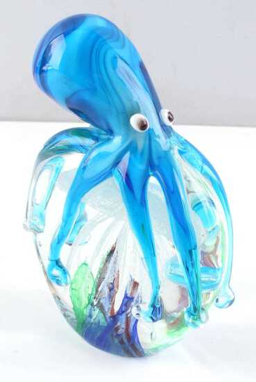 MURANO GLASS OCTOPUS WITH JELLYFISH PAPERWEIGHT