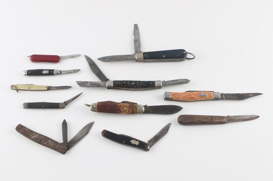 11 VINTAGE ASSORTED BSA FOLDING POCKET KNIFE LOT