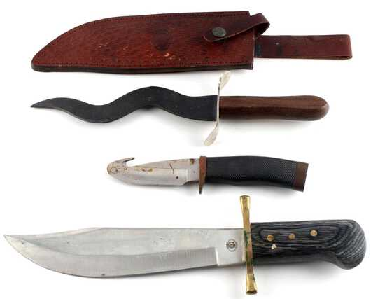 LOT OF 3 MIXED KNIVES CURVED SKINNER BOWIE KNIFE