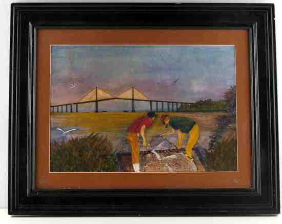 JERRY WHITSON WATERCOLOR FISHING BRIDGE PAINTING