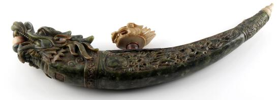 VINTAGE CARVED RESIN CHINESE DRAGON OPIUM PIPE