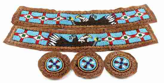 BEADED LEATHER FRAGMENT PIECES STRIPS MEDALLIONS