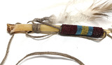PLAINS INDIAN BEADED BONE WHISTLE 8 1/2 INCHES