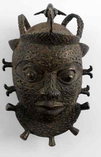 BENIN 19TH CENTURY BRONZE CEREMONIAL MASK
