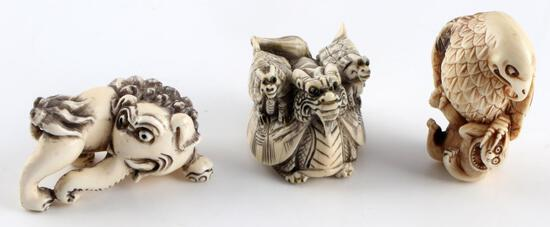 MEIJI PERIOD JAPANESE DEMON & DRAGON NETSUKE
