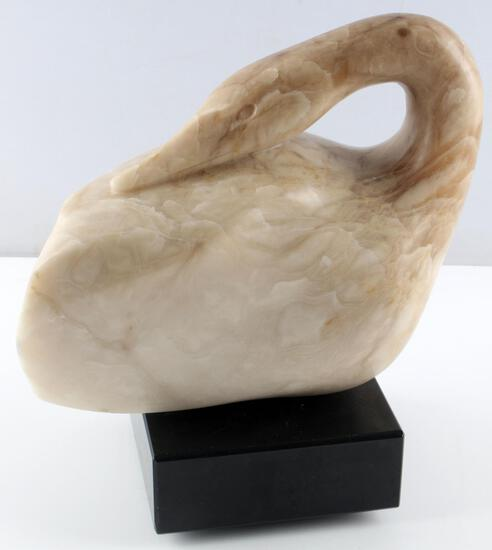 RALPH HURST MODERNIST ALABASTER DUCK SCULPTURE