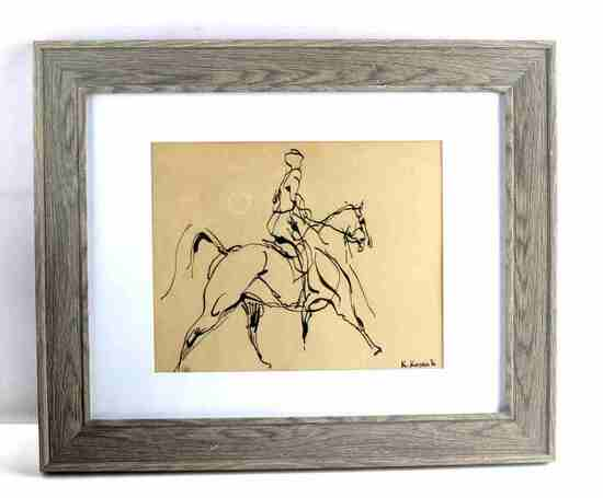 KAROL KOSSAK ORIGINAL INK HORSE W RIDER