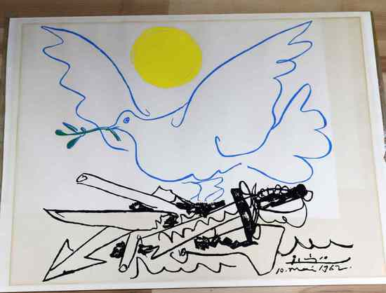 PICASSO LITHOGRAPH 1962 WORLD WITHOUT WEAPONS