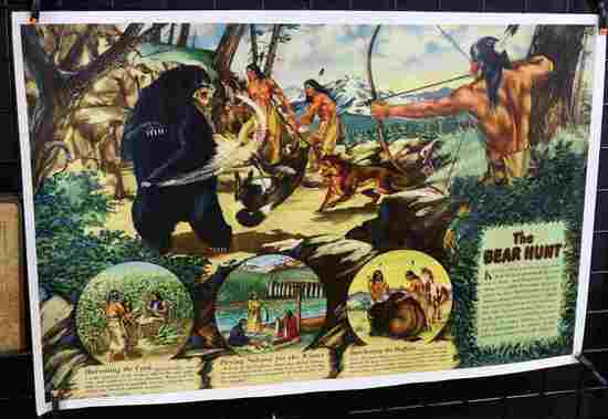 VINTAGE AMERICAN INDIAN HUNTING & ACTIVITY POSTER