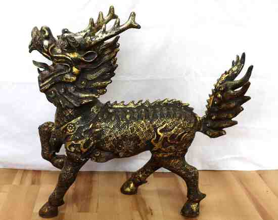 EARLY CHINESE QING DYNASTY CAST IRON FOO DOG