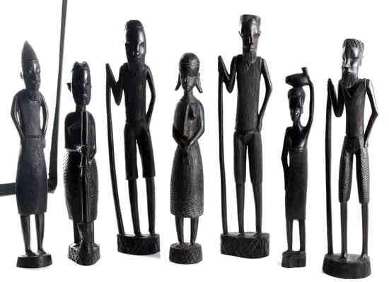 LOT OF 7 EBONY WOOD AFRICAN MAASAI TRIBE FIGURINES