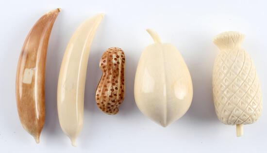 ANTIQUE OKIMONO IVORY FRUIT PIECES LOT OF 5