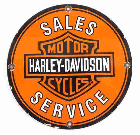 VINTAGE HARLEY DAVIDSON MOTORCYCLE ADVERT SIGN