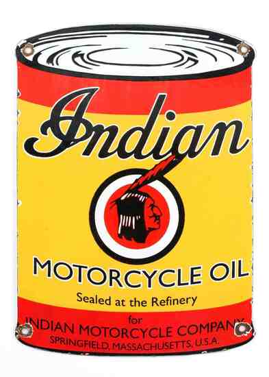VINTAGE INDIAN MOTORCYCLE OIL ADVERTISING SIGN