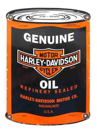 VINTAGE HARLEY DAVIDSON MOTORCYCLE OIL ADVERT SIGN