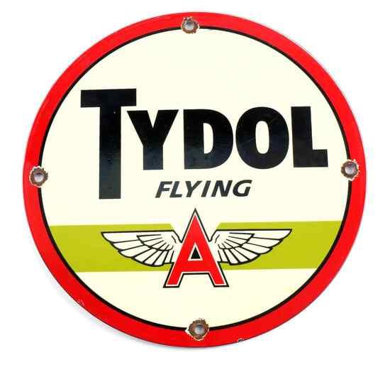 VINTAGE TYDOL FLYING A GASOLINE ADVERTISING SIGN