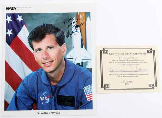 US NASA SIGNED PHOTOGRAPH ASTRONAUT FETTMAN W COA