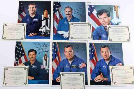 6 US NASA SIGNED PHOTOGRAPHS ASTRONAUTS W COA LOT