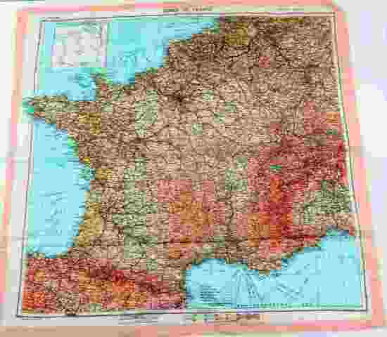 WWII US D-DAY ZONES OF FRANCE SILK INVASION MAP