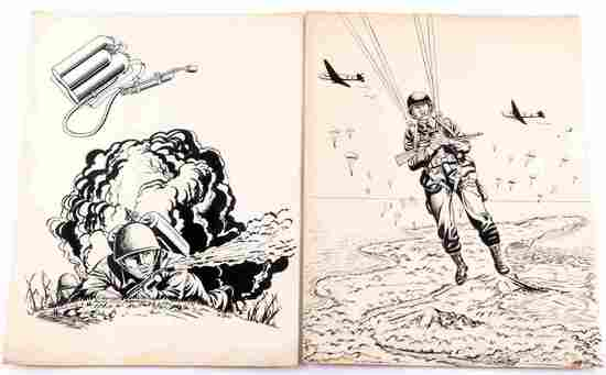2 WWII UNITED STATES INK DRAWINGS OF SOLDIERS
