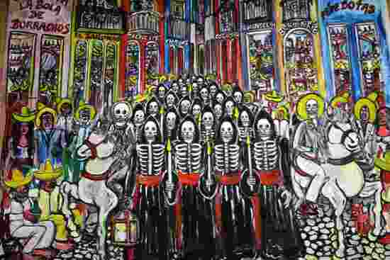 DAY OF THE DEAD FOLK ART OIL PAINTING BY ELI