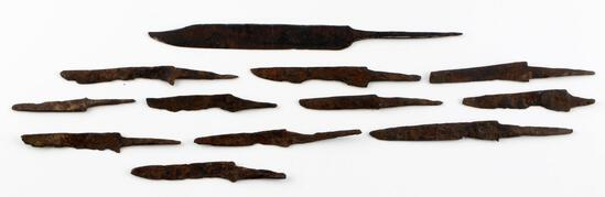 12 IRON AGE VIKING DAGGER AND KNIFE BLADE LOT