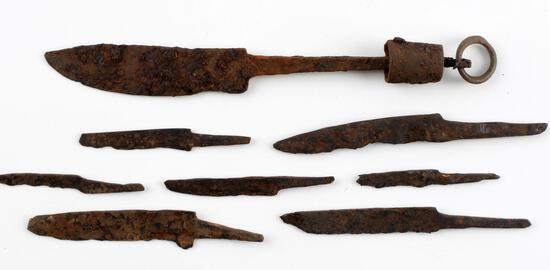 8 DANISH VIKING IRON AGE DAGGER AND KNIFE BLADES