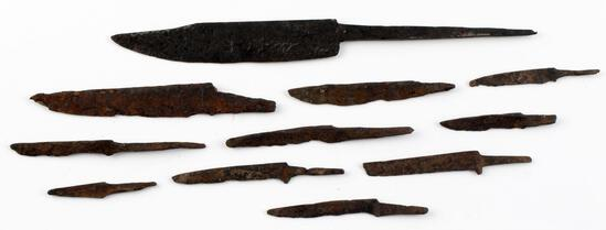 LOT OF 11 IRON AGE VIKING DAGGER AND KNIFE BLADE
