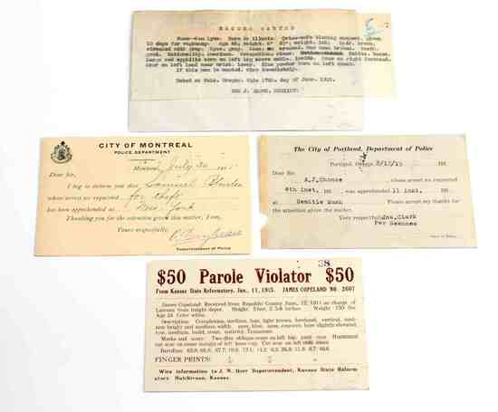 4 UNITED STATES WANTED AND ARREST POST CARDS